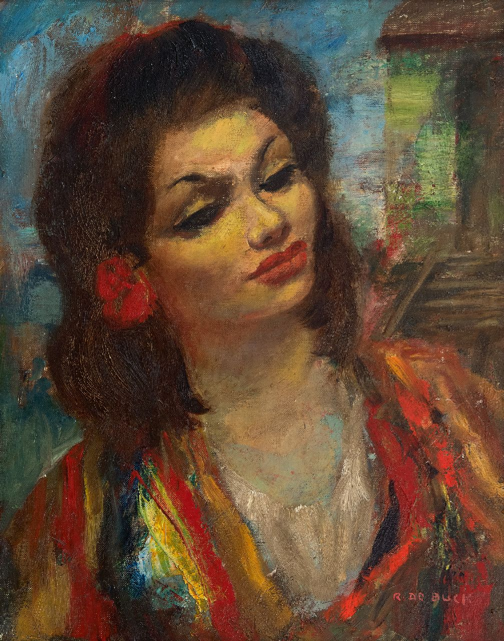 Buck R. de | Raphaël de Buck | Paintings offered for sale | Gipsy dancer, oil on canvas 50.4 x 40.5 cm, signed l.r.