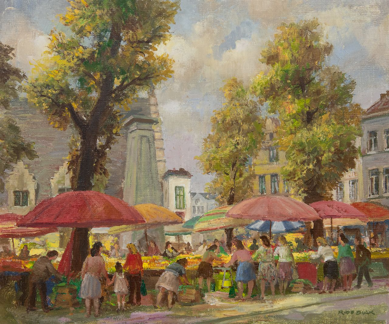 Buck R. de | Raphaël de Buck | Paintings offered for sale | The Groentemarkt in Ghent (Flanders), oil on canvas 50.3 x 60.2 cm, signed l.r.
