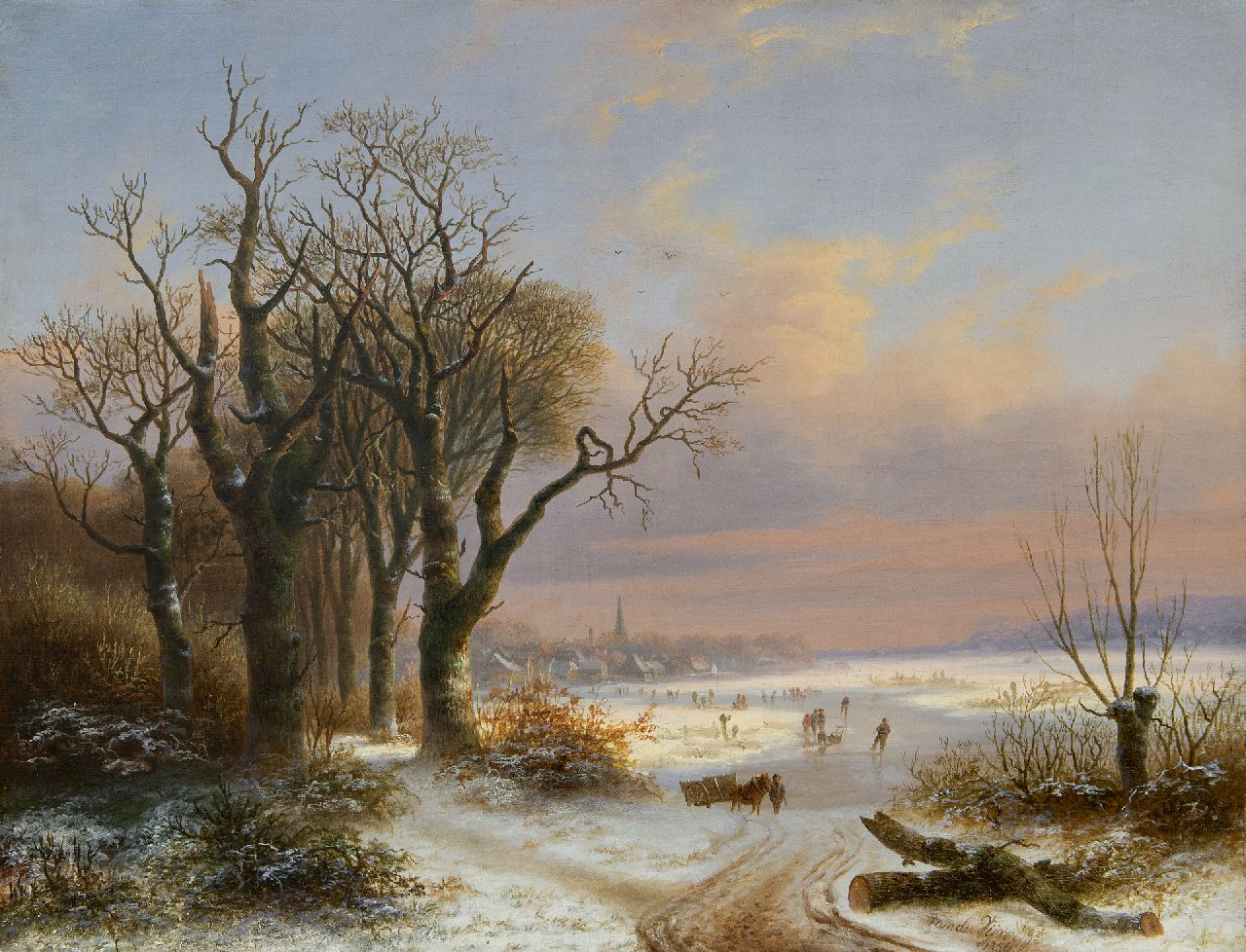 Willem Simon Petrus van der Vijver | A winter landscape with skaters near a village, oil on canvas, 48.8 x 62.5 cm, signed l.r. and dated 1854