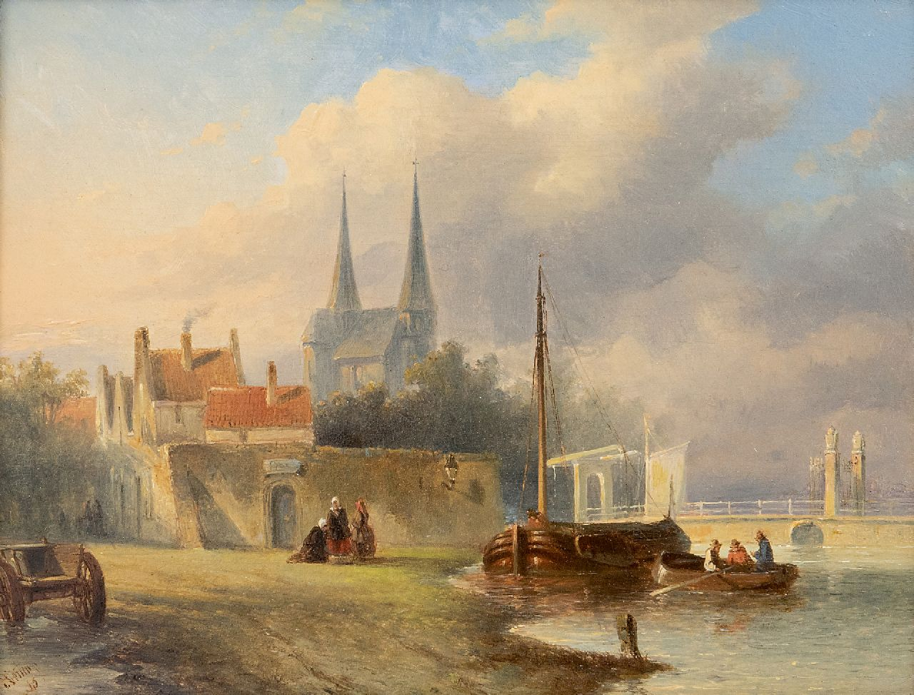 Vertin P.G.  | Petrus Gerardus Vertin | Paintings offered for sale | A Dutch town along a river, oil on panel 19.4 x 25.6 cm, signed l.l. and dated '45