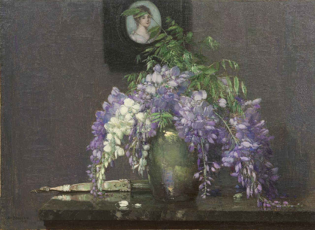 Bogaerts J.J.M.  | Johannes Jacobus Maria 'Jan' Bogaerts | Paintings offered for sale | A still life with Wisteria and a miniature portrait, oil on canvas 40.3 x 55.1 cm, signed l.l. and dated 1917
