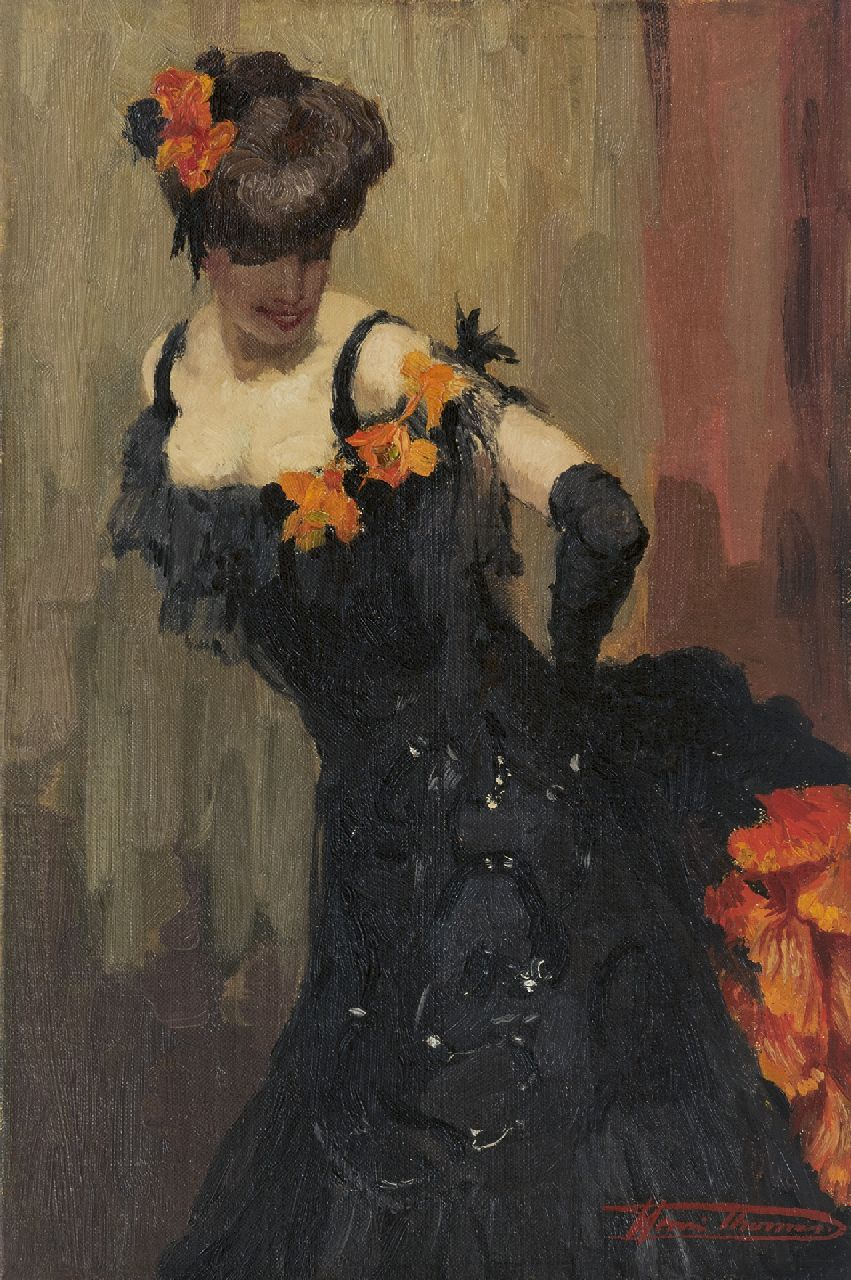 Thomas H.J.  | Henri Joseph Thomas | Paintings offered for sale | Dancer in a black dress, oil on canvas 45.3 x 30.3 cm, signed l.r.