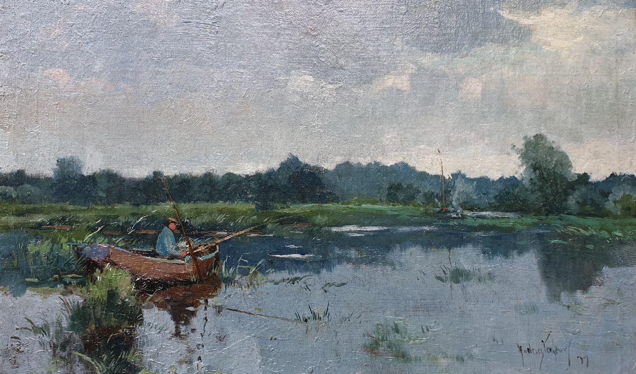 Andries Verleur | Angler in a polder landscape, oil on canvas laid down on board, 35.2 x 59.0 cm, signed l.r. and dated '37