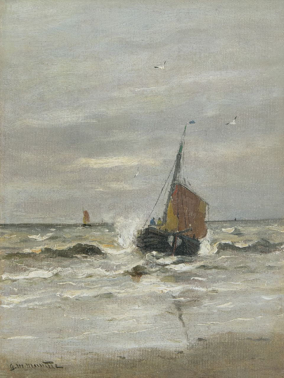 Munthe G.A.L.  | Gerhard Arij Ludwig 'Morgenstjerne' Munthe | Paintings offered for sale | The 'KW9' leaving the beach of Katwijk, oil on canvas 40.4 x 30.8 cm, signed l.l.