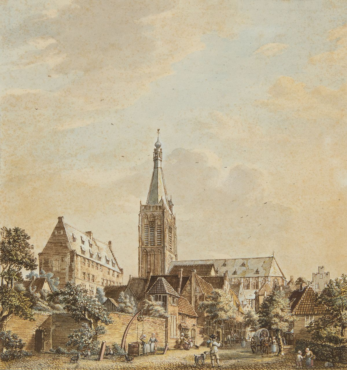 Jan de Beijer | The Grote Kerk and the Klooster in Doesburg, pen, ink and watercolour on paper, 33.7 x 31.7 cm, signed on the reverse and dated on the reverse 10. August: 1772'
