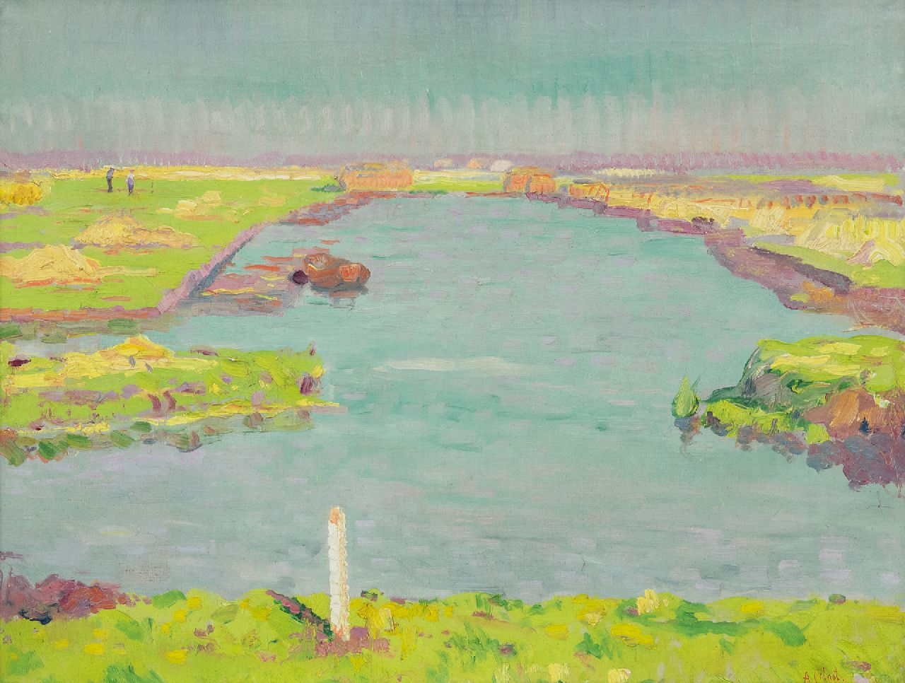 Colnot A.J.G.  | 'Arnout' Jacobus Gustaaf Colnot | Paintings offered for sale | A luministic polder landscape near Bergen, oil on canvas 49.6 x 62.9 cm, signed l.r. and painted ca. 1909
