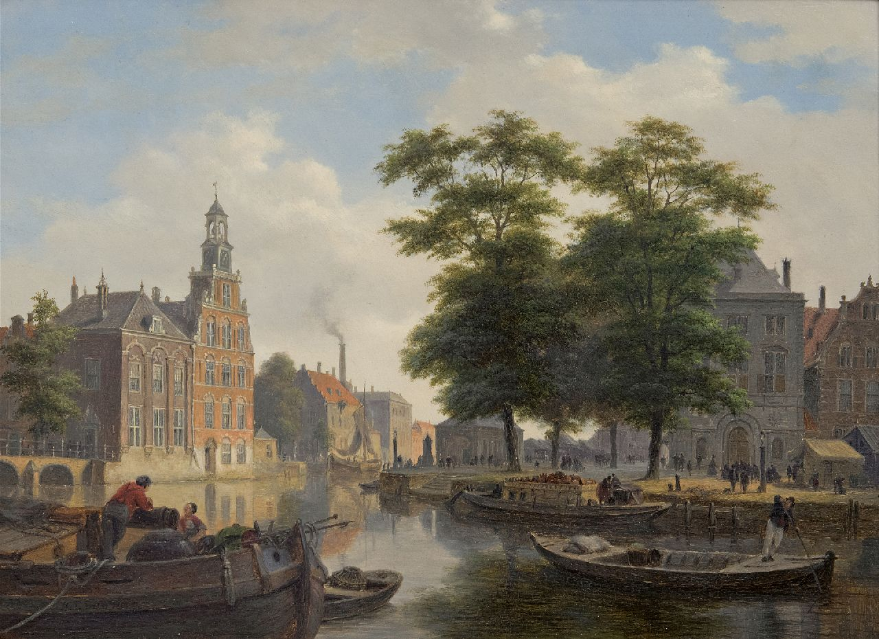 Hove B.J. van | Bartholomeus Johannes 'Bart' van Hove | Paintings offered for sale | A view of a town with townsfolk and shipping on a canal (pendant of A quay and town gate in winter), oil on panel 28.4 x 39.0 cm, signed l.l.
