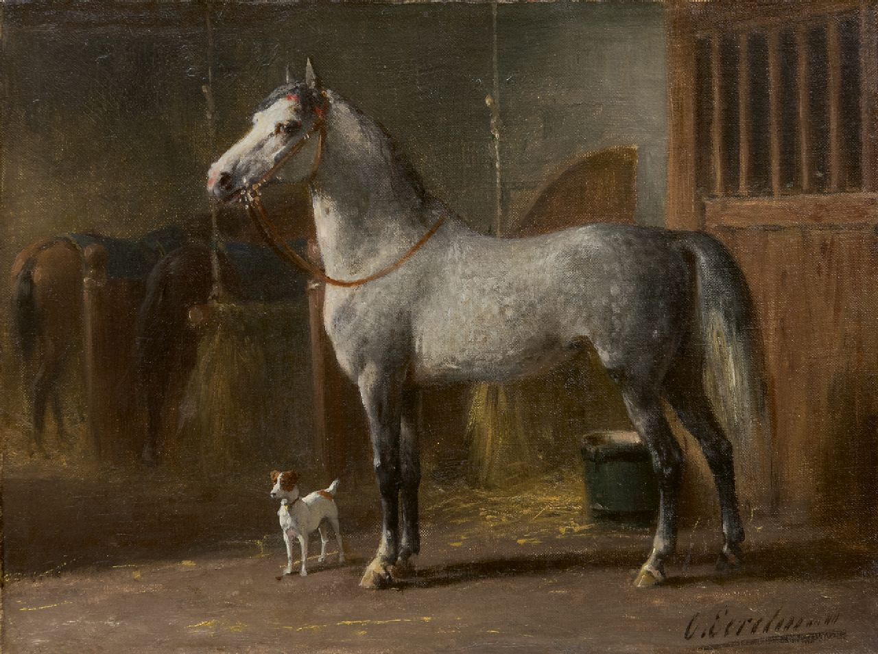 Eerelman O.  | Otto Eerelman, A grey in a stable, oil on canvas 25.2 x 31.2 cm, signed l.r.