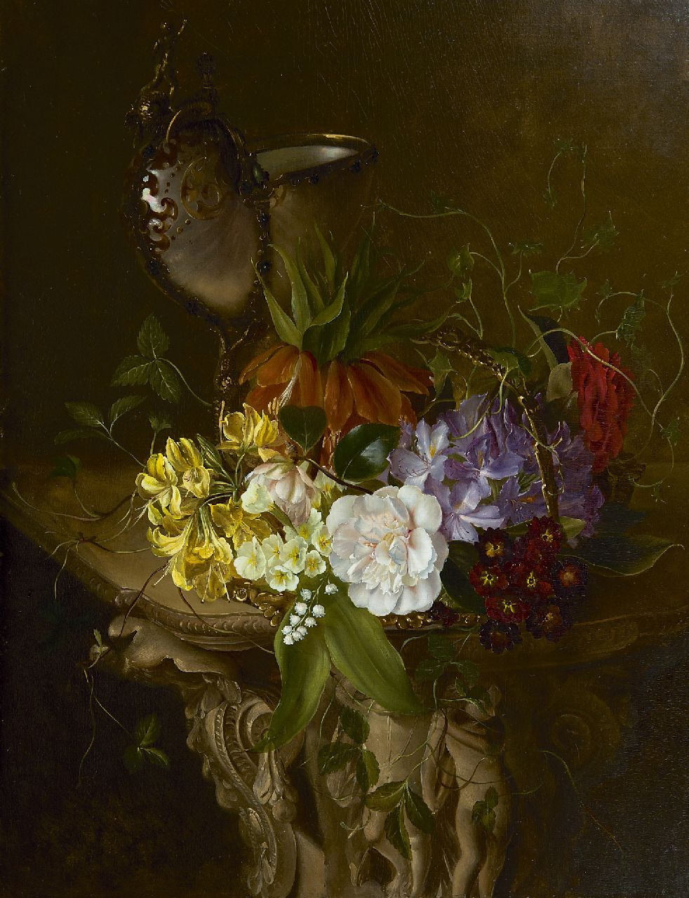Schot F.L.  | Francina Louise Schot, A still life with flowers and nautilus cup, oil on panel 61.6 x 46.9 cm