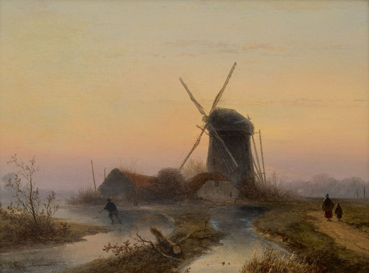 Hoppenbrouwers J.F.  | Johannes Franciscus Hoppenbrouwers | Paintings offered for sale | A windmill along a frozen waterway, oil on panel 24.0 x 32.1 cm, signed l.l.