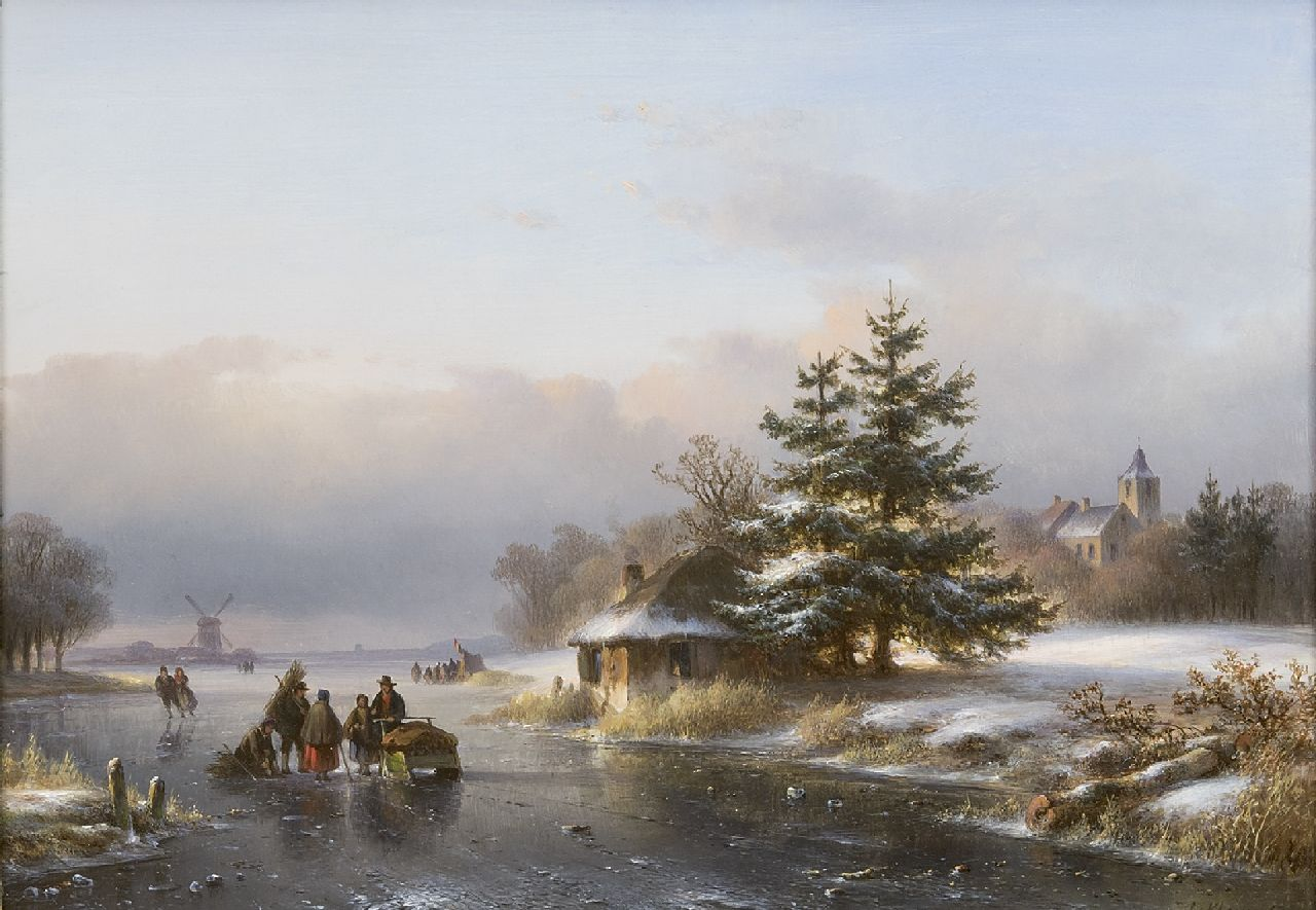 Kleijn L.J.  | Lodewijk Johannes Kleijn, A winter landscape with figures and skaters on the ice, oil on panel 29.6 x 40.5 cm, signed l.r.