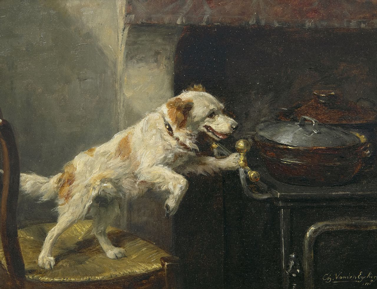Eycken Ch. van den | Charles van den Eycken | Paintings offered for sale | Alone in the kitchen, oil on panel 21.4 x 27.8 cm, signed l.r. and dated 1880 and on the reverse 6.3.80