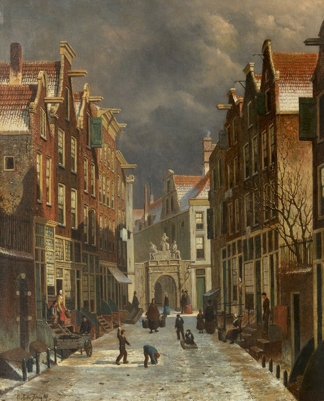 Jongh O.R. de | Oene Romkes de Jongh | Paintings offered for sale | View on the Voetboogstraat with the Rasphuispoort, Amsterdam, oil on canvas 86.8 x 70.4 cm, signed l.l.