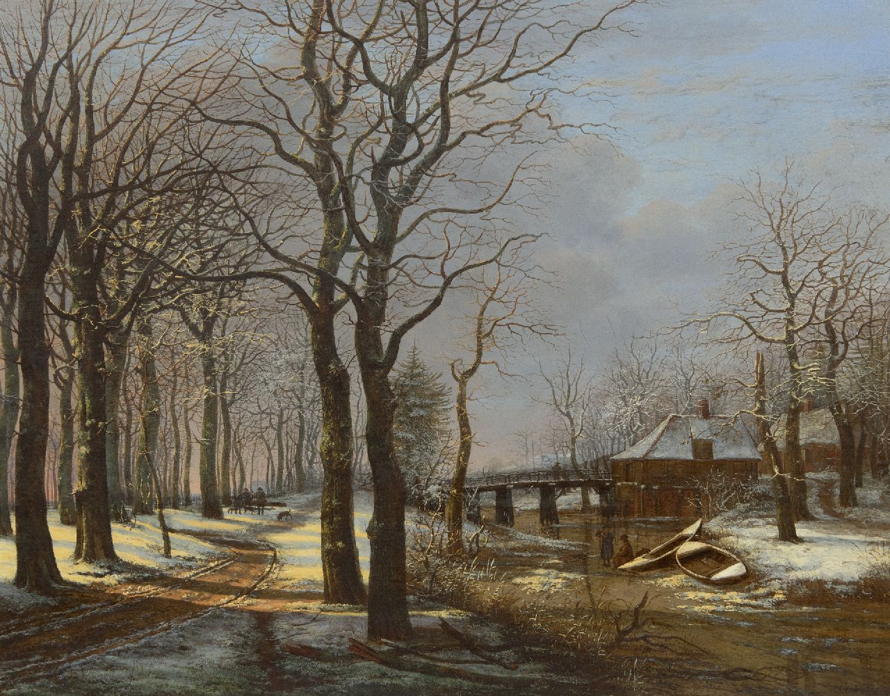 George Pieter Westenberg | Woodlandscape with treelane in the snow, oil on canvas, 63.8 x 80.8 cm, signed l.r. and dated 1821