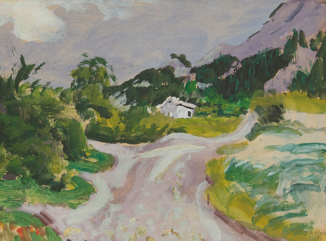 Altink J.  | Jan Altink, Landscape in the Haute-Savoie, gouache on paper 47.3 x 63.2 cm, signed l.r. and dated '53