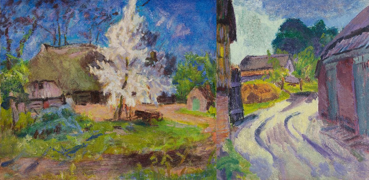 Altink J.  | Jan Altink, Landscape in Essen, Groningen; on the reverse: Country road in Essen, oil on canvas 60.5 x 70.8 cm, signed on the stretcher and painted ca. 1930