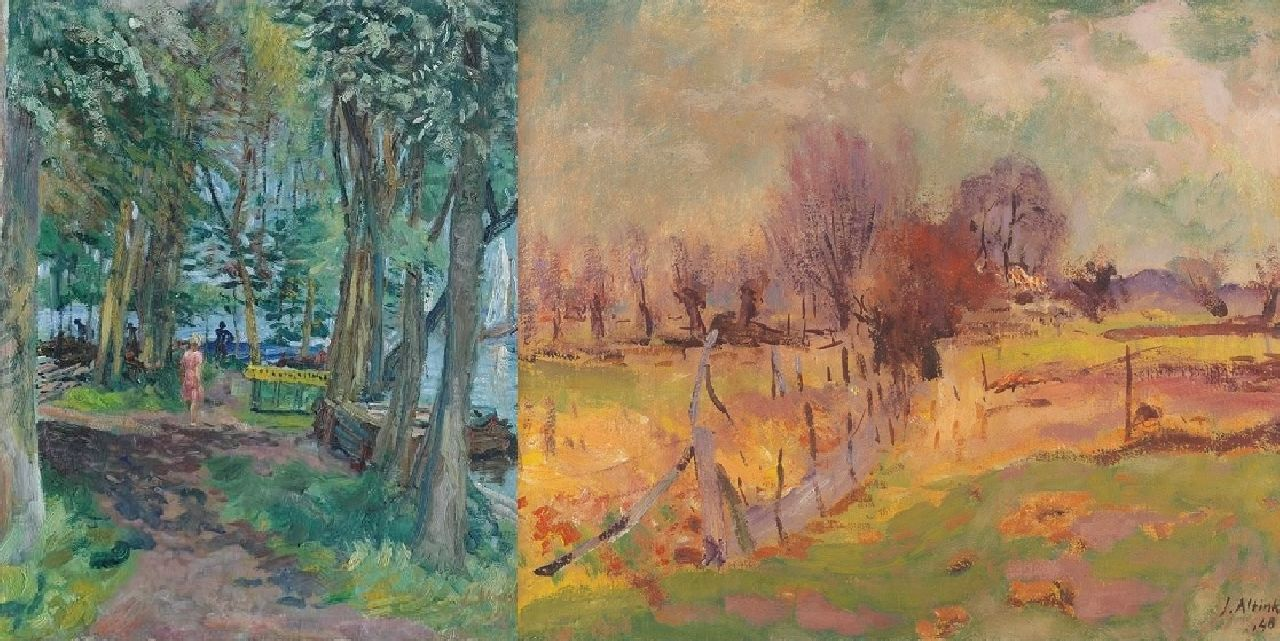 Altink J.  | Jan Altink | Paintings offered for sale | The Paterswolde lake; on the reverse: landscape, oil on canvas 60.9 x 50.8 cm, signed l.r. and on the reverse and dated '41 and '48 on the reverse