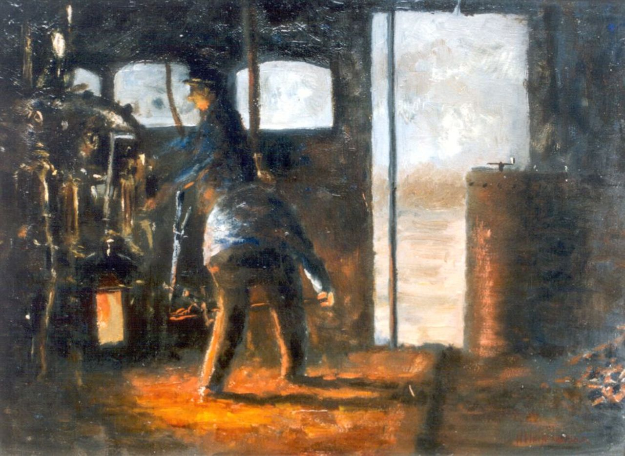 Heijenbrock J.C.H.  | Johan Coenraad Hermann 'Herman' Heijenbrock, Engine drivers, oil on panel 29.0 x 39.5 cm, signed l.r.