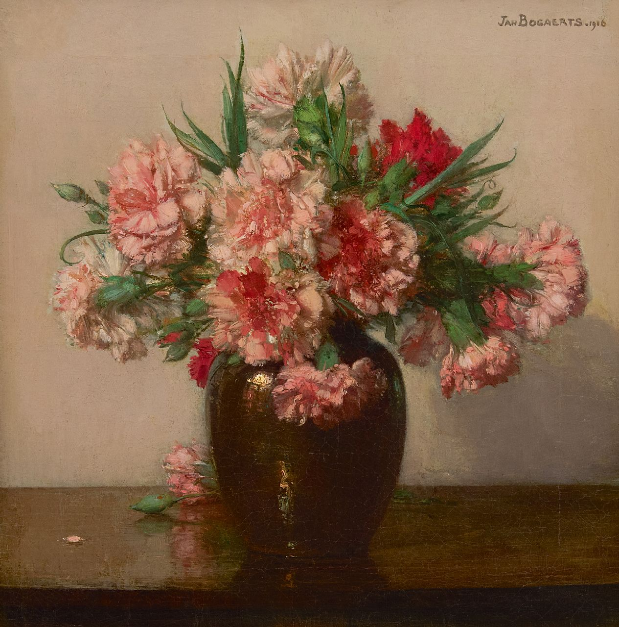 Bogaerts J.J.M.  | Johannes Jacobus Maria 'Jan' Bogaerts | Paintings offered for sale | Pink carnations, oil on canvas 39.6 x 38.5 cm, signed u.r. and dated 1916