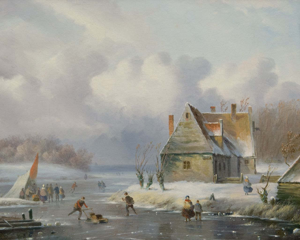 Ahrendts C.E.  | Carl Eduard Ahrendts | Paintings offered for sale | A winter landscape with skaters, oil on panel 28.7 x 35.1 cm, signed l.l.