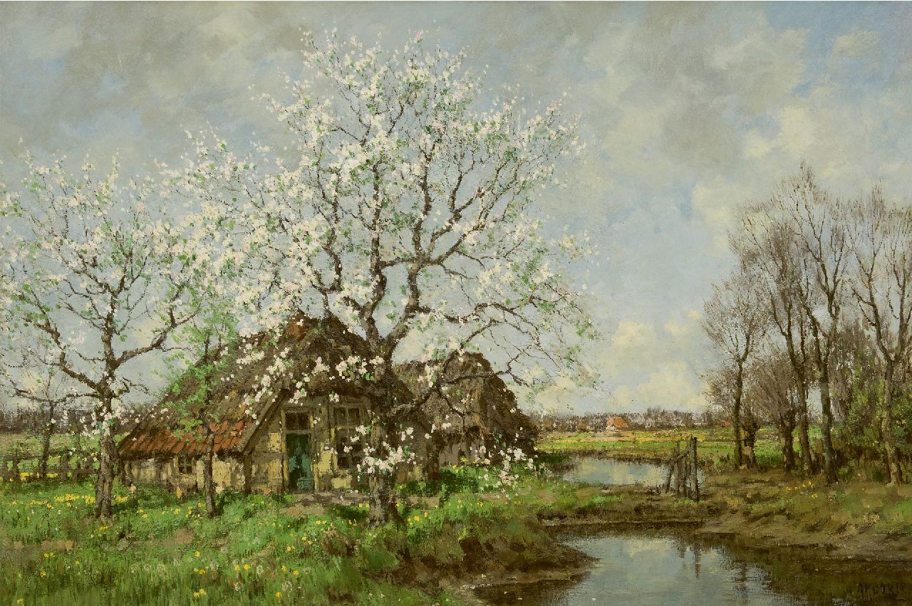 Gorter A.M.  | 'Arnold' Marc Gorter | Paintings offered for sale | Pear blossom at the Vordense Beek, oil on canvas 85.3 x 125.4 cm, signed l.r.