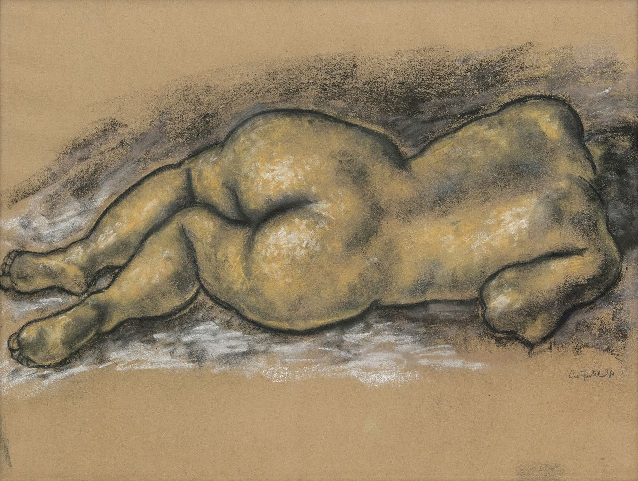 Gestel L.  | Leendert 'Leo' Gestel | Watercolours and drawings offered for sale | Reclining nude, charcoal and pastel on paper 47.0 x 62.5 cm, signed l.r. and dated '31