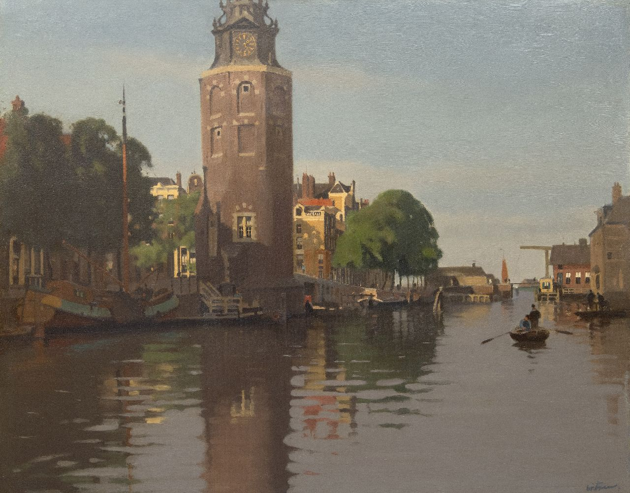 Witsen W.A.  | 'Willem' Arnold Witsen | Paintings offered for sale | The Montelbaanstoren on the Oude Schans in summer, oil on canvas 79.7 x 100.6 cm, signed l.r. and painted ca. 1913