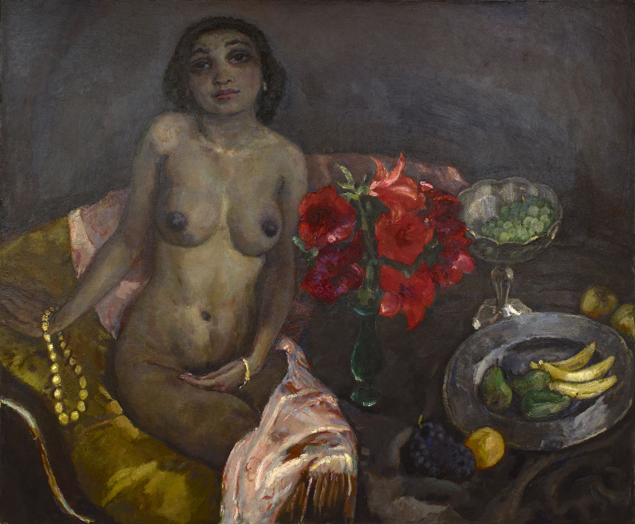 Sluijters J.C.B.  | Johannes Carolus Bernardus 'Jan' Sluijters | Paintings offered for sale | Seated nude with still life, oil on canvas 116.7 x 140.3 cm, signed c.l. and painted ca. 1927