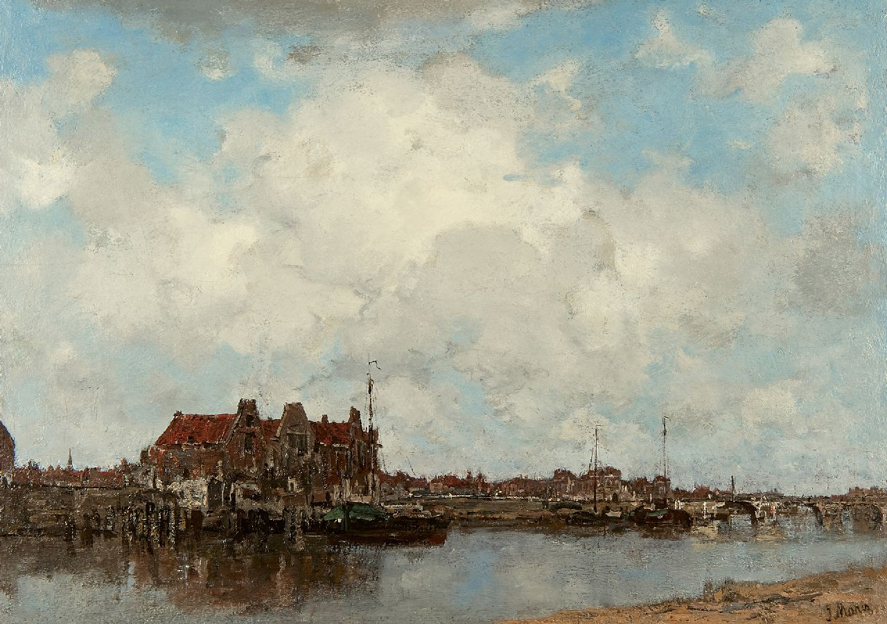 Maris J.H.  | Jacobus Hendricus 'Jacob' Maris | Paintings offered for sale | Along the canal, oil on canvas 45.4 x 63.2 cm, signed l.r. 2208005 Coll.VII ER
