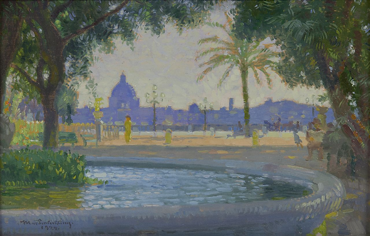 Max Schlichting | Monte Pincio, Rome, oil on panel, 15.4 x 23.4 cm, signed l.l. and verso and dated 1924