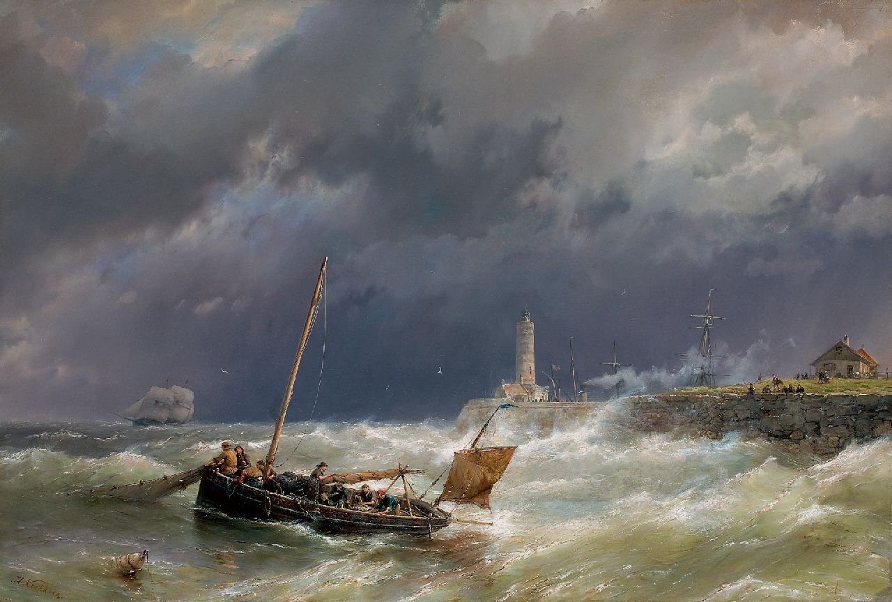 Koekkoek H.  | Hermanus Koekkoek | Paintings offered for sale | Gathering the nets on a stormy sea, oil on canvas 67.4 x 100.7 cm, signed l.l.