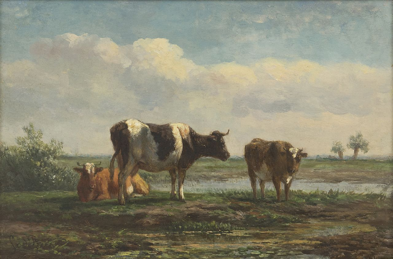 Simon van den Berg | Cattle in a polder landscape, oil on panel, 17.6 x 26.0 cm, signed l.l.