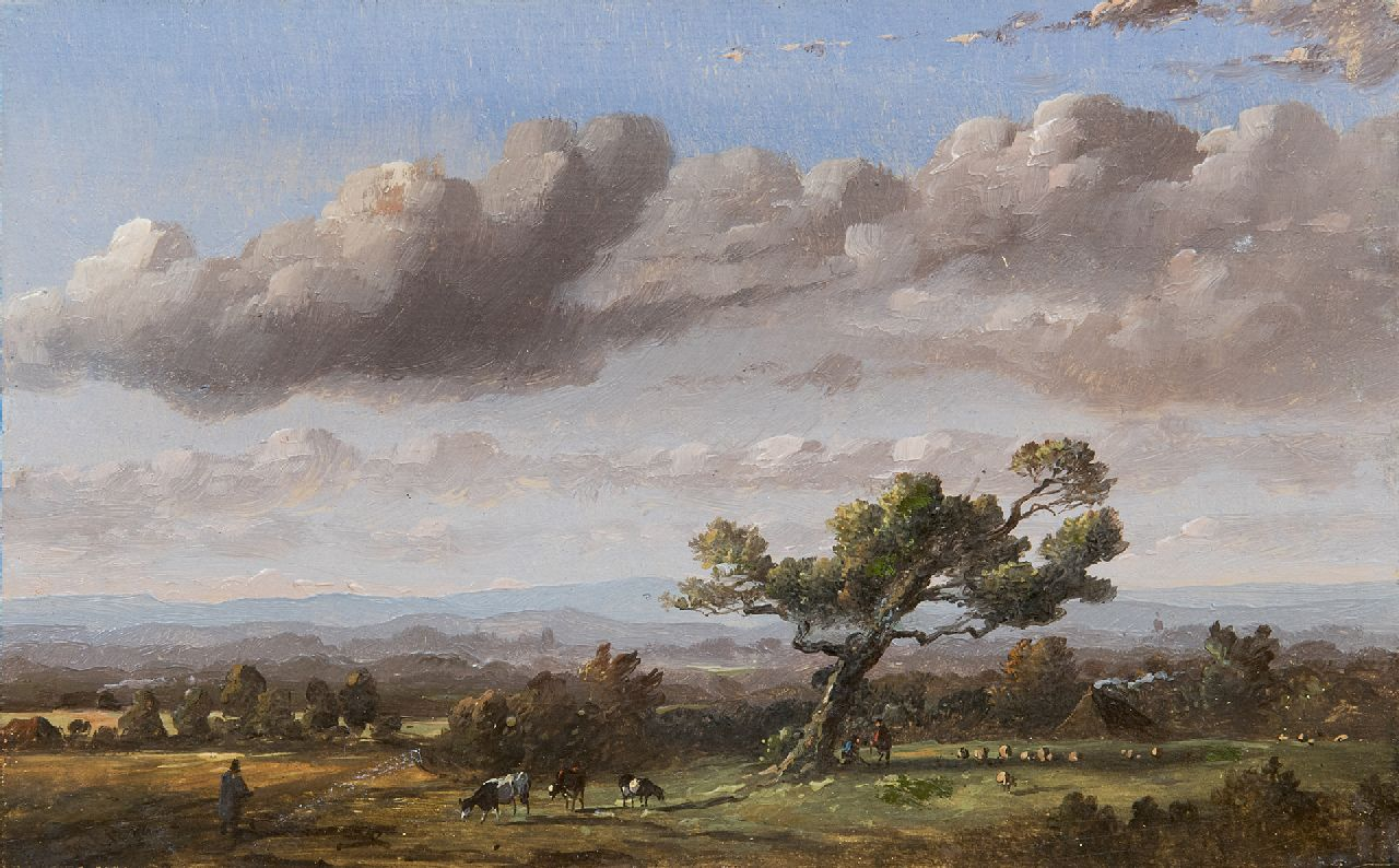 Tavenraat J.  | Johannes Tavenraat, Hilly landscape with tree, oil on panel 10.9 x 17.4 cm, signed l.l. and dated 1848