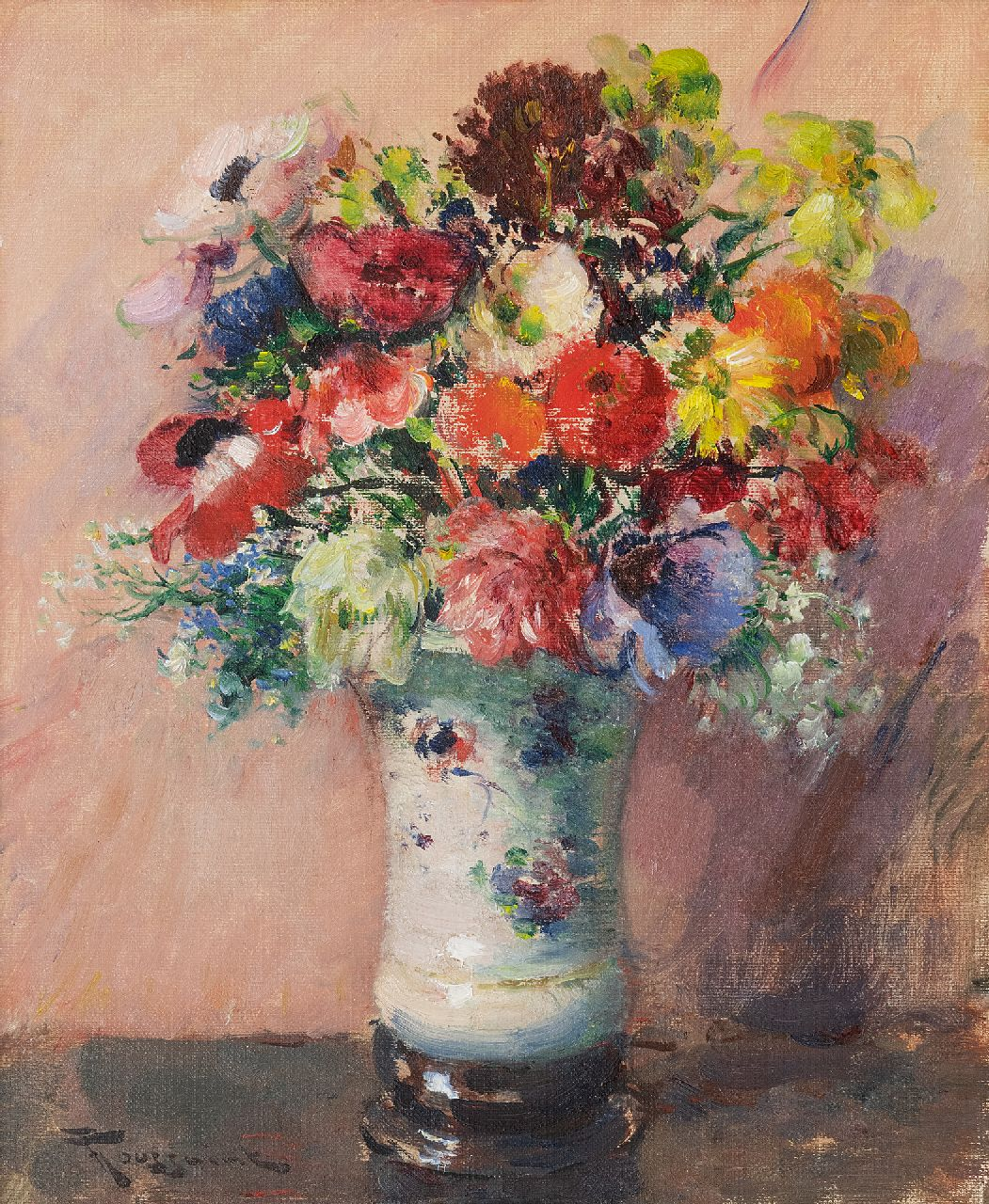 Toussaint F.  | Fernand Toussaint | Paintings offered for sale | Summer flowers, oil on painter's board 46.0 x 37.1 cm, signed l.l.