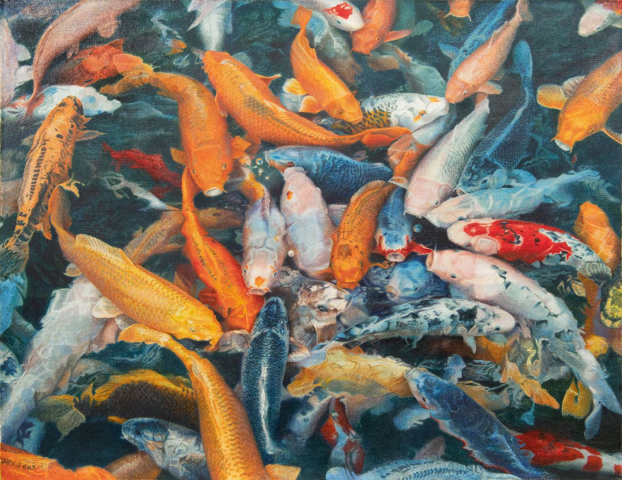 David Eddington | Koi Carps, oil on canvas, 96.4 x 124.3 cm, signed signed lower left and dated 1977