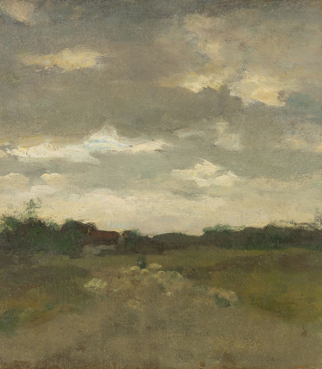 Weissenbruch H.J.  | Hendrik Johannes 'J.H.' Weissenbruch | Paintings offered for sale | Landscape with sheep near Waalsdorp, oil on canvas laid down on panel 35.5 x 31.0 cm, painted ca. 1895
