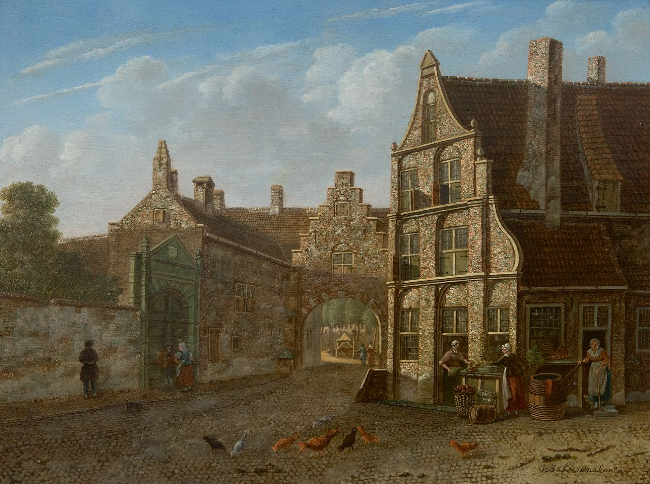 Johannes Schoenmaker Pzn | A town view with vegetable sellers, oil on panel, 31.9 x 42.8 cm, signed l.r.