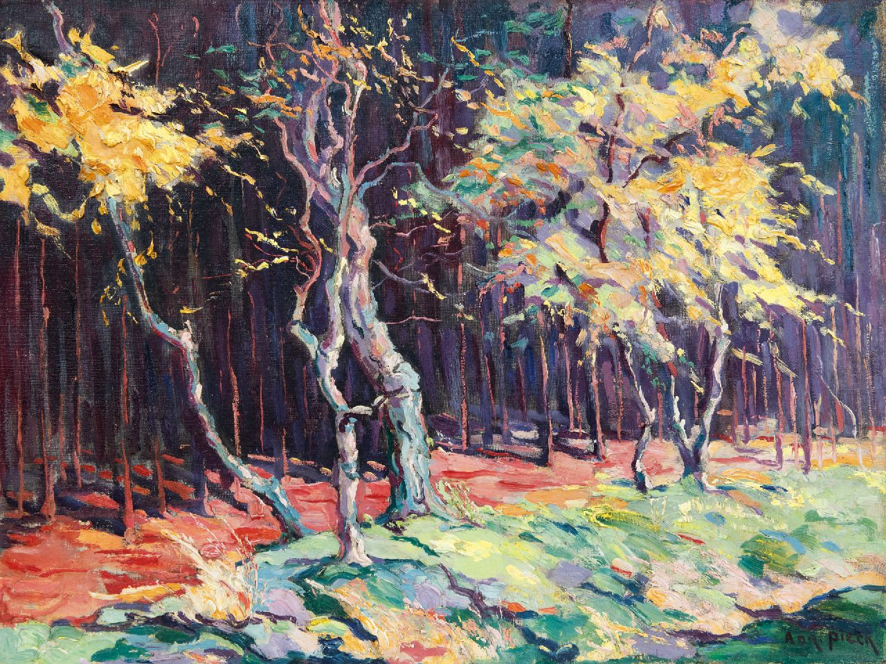 Adri Pieck | Sunny forest edge, oil on canvas, 49.5 x 65.5 cm, signed l.r.