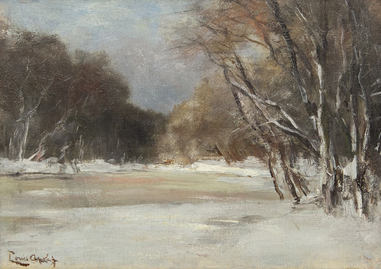 Apol L.F.H.  | Lodewijk Franciscus Hendrik 'Louis' Apol | Paintings offered for sale | A snowy forest pond, oil on canvas laid down on panel 25.6 x 35.8 cm, signed l.l.