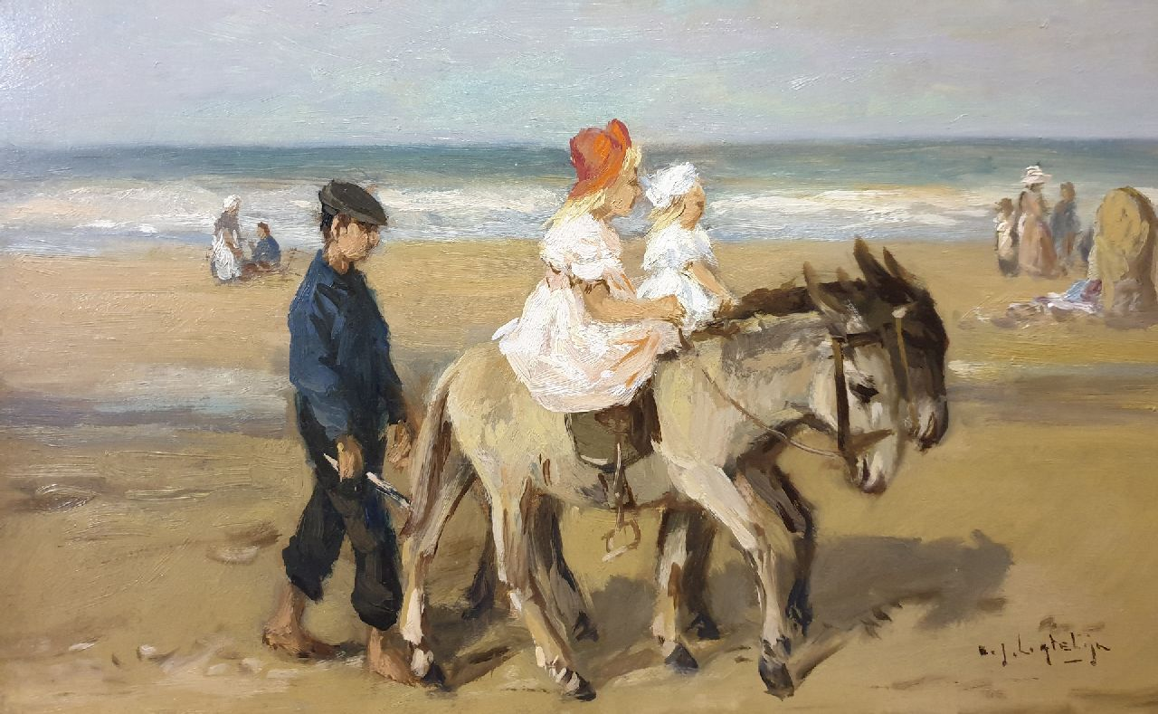 Ligtelijn E.J.  | Evert Jan Ligtelijn | Paintings offered for sale | A donkey ride on the beach, oil on panel 23.9 x 40.3 cm, signed l.r.