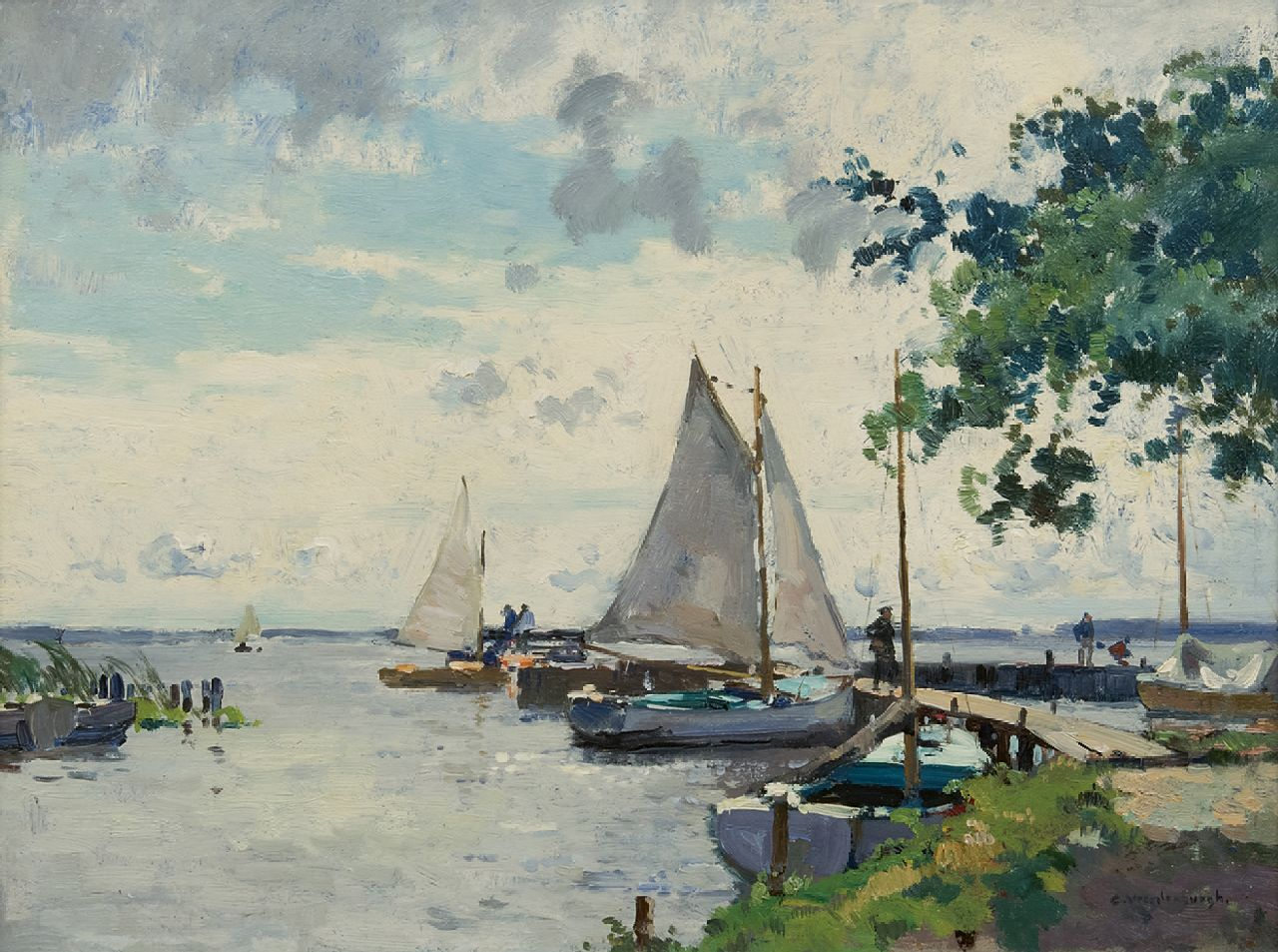 Vreedenburgh C.  | Cornelis Vreedenburgh | Paintings offered for sale | Sailing boats at a jetty on the Loosdrechtse Plassen, oil on board 34.7 x 46.1 cm, signed l.r.