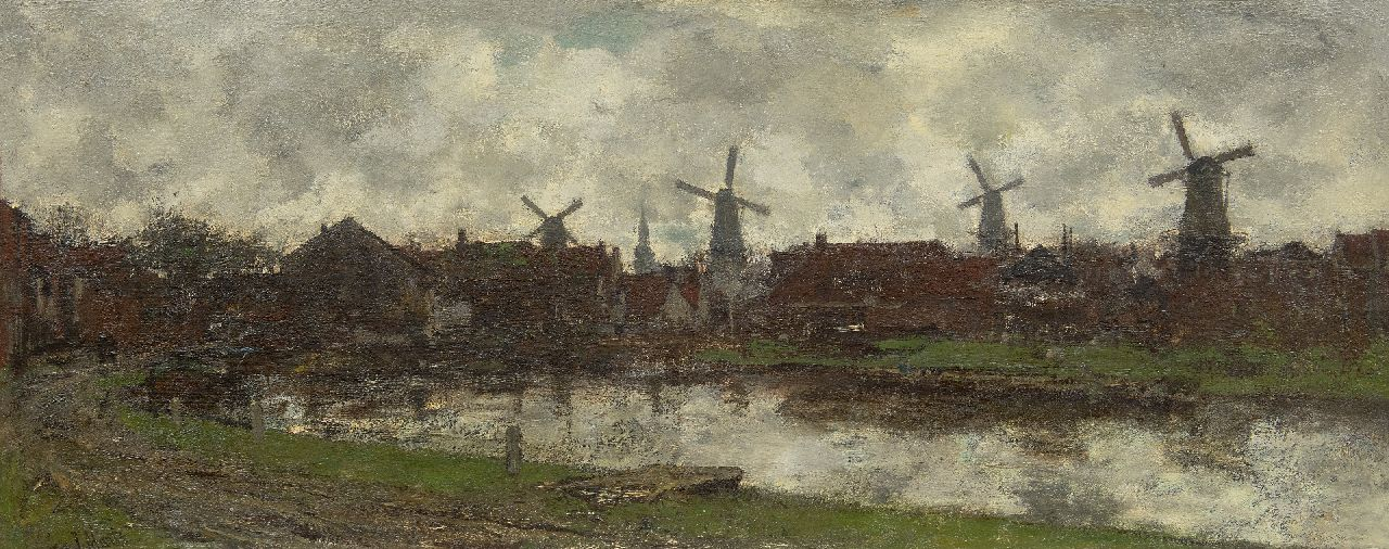 Maris J.H.  | Jacobus Hendricus 'Jacob' Maris | Paintings offered for sale | The four windmills, Schiedam, oil on canvas 45.0 x 112.6 cm, signed l.l.