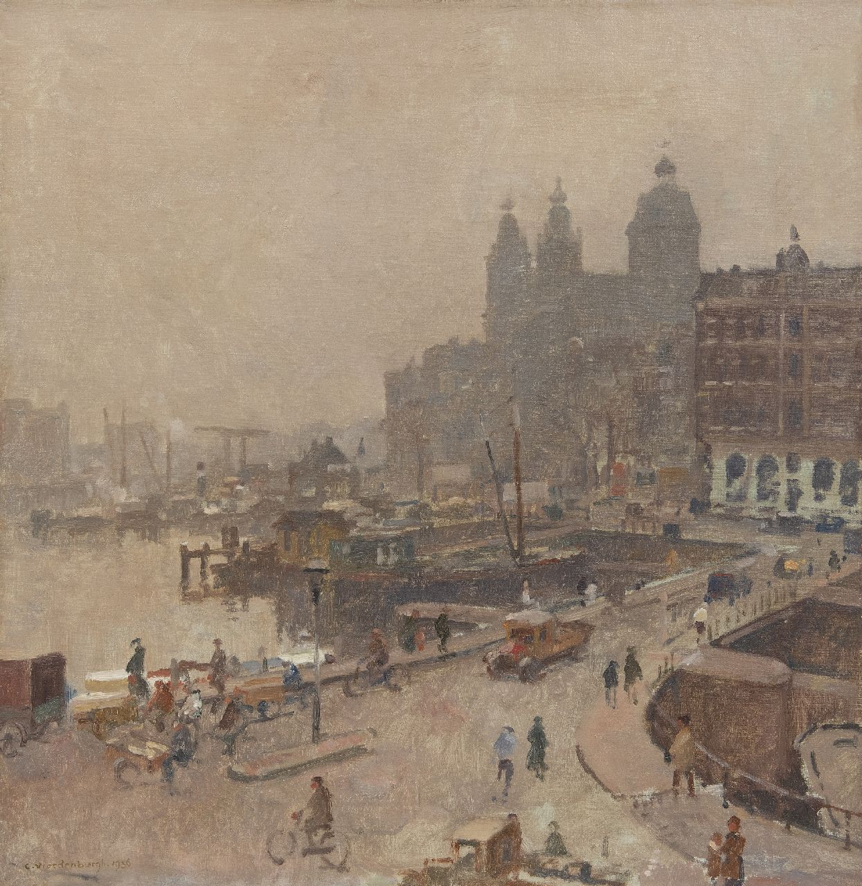 Vreedenburgh C.  | Cornelis Vreedenburgh | Paintings offered for sale | View of Amsterdam with the St. Nicolaas church, oil on canvas 52.3 x 50.7 cm, signed l.l. and dated 1936
