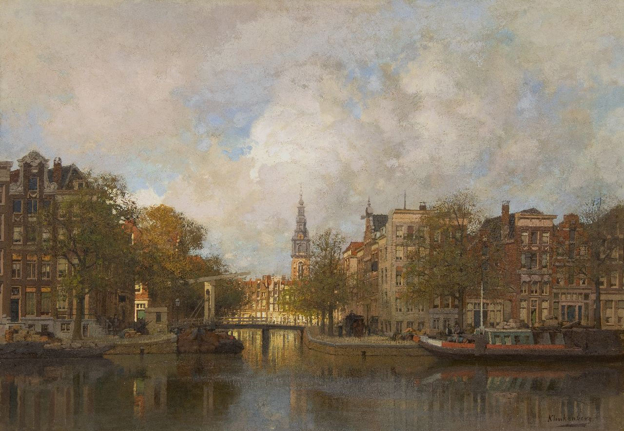 Klinkenberg J.C.K.  | Johannes Christiaan Karel Klinkenberg | Paintings offered for sale | A view of the Groenburgwal in Amsterdam and the Zuiderkerk, oil on canvas 70.1 x 100.0 cm, signed l.r.