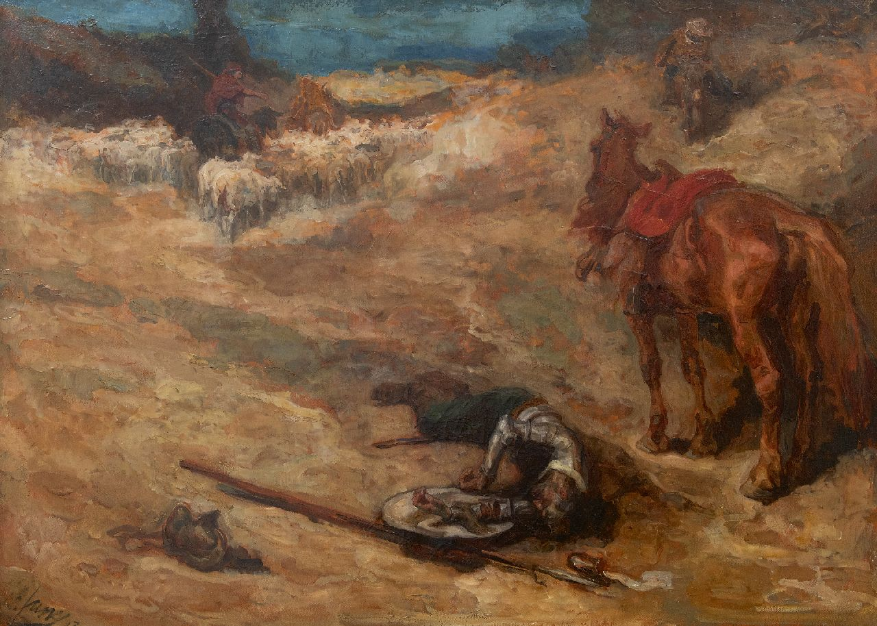 Johannes Hendricus Jurres | Scene from Don Quichot, oil on canvas, 73.9 x 101.8 cm, signed l.l. and dated '13
