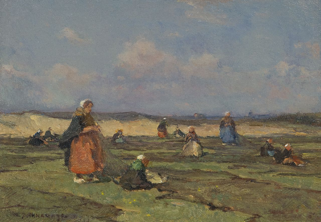 Akkeringa J.E.H.  | 'Johannes Evert' Hendrik Akkeringa | Paintings offered for sale | Mending fishing nets in the dunes, oil on panel 17.2 x 24.3 cm, signed l.l.