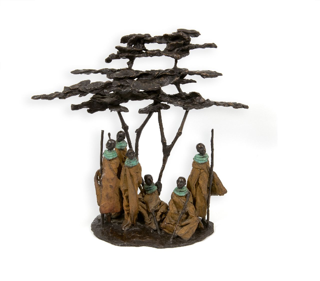 Marianne Houtkamp | Massai under a Flame Tree, bronze, 40.0 cm, gesigneerd op basis met monogram