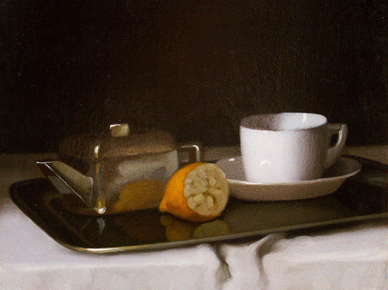 Janos Pentelei Molnar | Still life with a tea set and a lemon, oil on panel, 21.8 x 26.7 cm, signed l.l.
