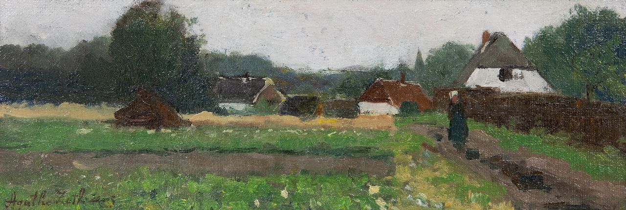 Agatha Zethraeus | Village with farm, oil on canvas laid down on board, 12.7 x 34.8 cm, signed l.l.