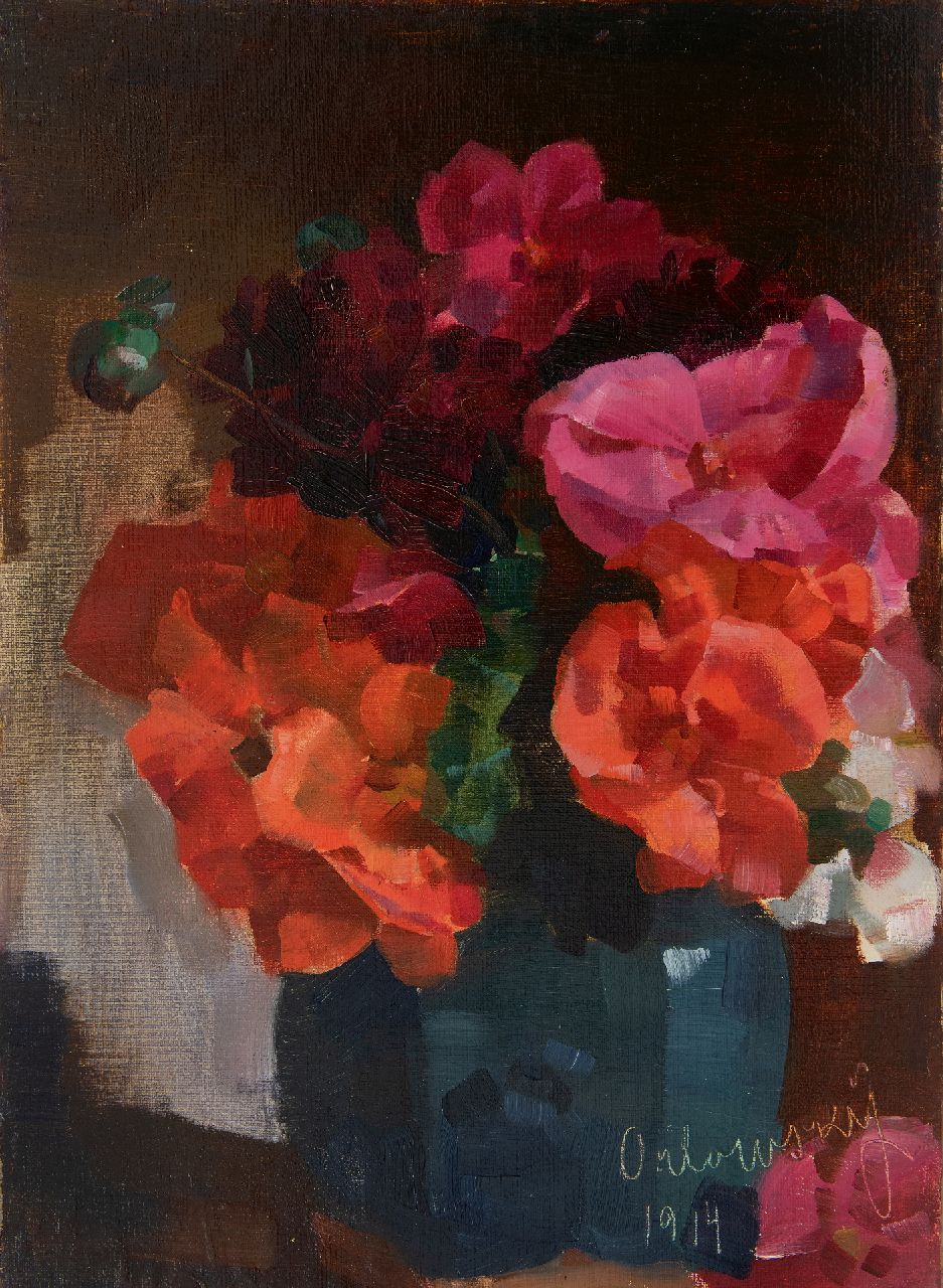 Hans Otto Orlowsky | Flower still life, oil on canvas on board, laid down on panel, 49.1 x 36.2 cm, signed l.r. and dated 1914
